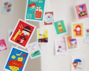Palette Stamp style Sticker Set - thank you, yummy (24 stickers)