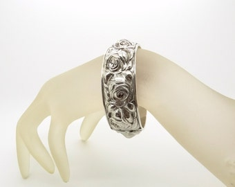 RESERVED Art Deco Bracelet - 37 Grams - 925 Sterling Silver Bangle Bracelet - Roses Ornament - Hinged Bangle - 1930s Jewelry