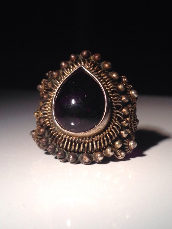 Antique Silver Chinese Amethyst Ring