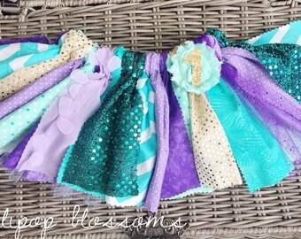 Little Mermaid first birthday tutu, ONE tutu, purple, teal, aqua, gold Ariel birthday outfit, rag tutu
