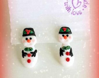 Snowman split earrings in polymer clay, christmas gift for her, secret santa, stocking fillers, christmas jewelry, snowmen, miniature