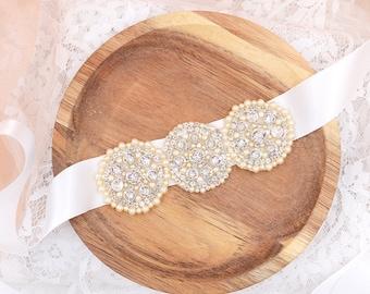 Wedding Sash , Bridal Belt , Beaded Sash , Swarovski Crystal Sash , White Crystal Belt , Ivory Satin Sash , Lace Sash , Silver Sash