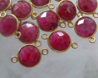 18x12mm, Dyed Round Red Ruby Gold Vermeil Bezel Frame Sterling Silver Connector, Faceted Ruby Connector
