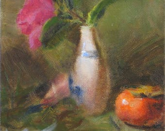 JAPANESE Sake Cup & PERSIMMON Colorful Floral Zen Still Life 6x6 Oil on Canvas Painting Flowers California Impressionist Art by Daniel Peci