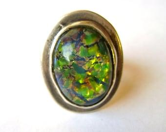 vintage sterling large foil opal ring, size 7