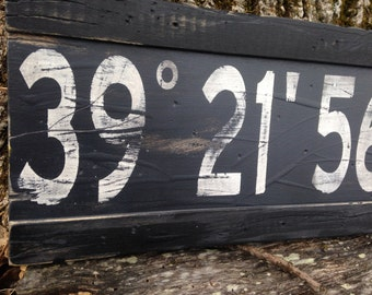 Wood Sign Latitude Longitude|Custom Longitude Latitude Wood Sign|family GPS coordinates sign|distressed coordinates|gray latitude