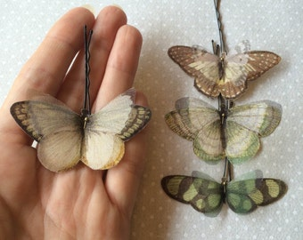 Handmade Butterfly Moth Hair Bobby Pins in Green, Ivory and Brown Cotton and Silk Organza Fabric - 4 pieces