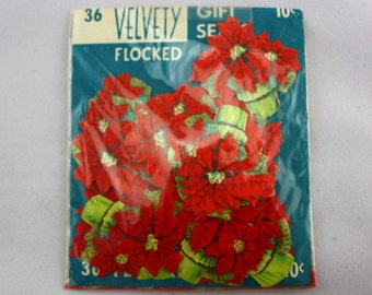 Vintage Christmas Wrapping Velvety Flocked Gift Seals - Poinsettias - Red Holiday Flowers - Retro Scrapbooking and Card Making Supplies