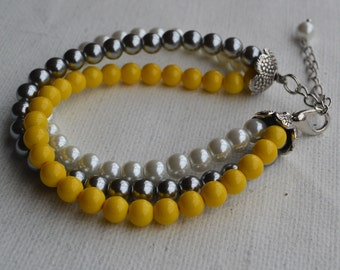pearl bracelet, wedding bracelet, bridesmaids bracelet, yellow and gray and white, glass pearls bracelet, wedding pearl bracelets,