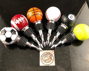 Choice of specialty sport golf ball bottle stoppers, soccer, football, basketball, baseball, pool, 8 ball, tennis, wine lover gift, golfer