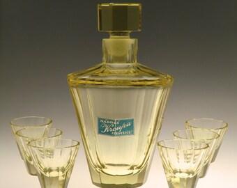 Czech Bohemian Art Deco Citrine Glass Liqueur Set by Moser