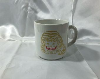 Vintage Grinning Cheshire Cat Mug 1988 Rivertown Trading Co White 10 Ounces