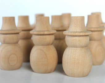 5 Unfinished Wooden Snowmen – Set of 5 for Christmas & Holiday Crafts