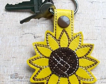 Sunflower Keychain, Key Fob, Bag Tag, Flower Snap Tab