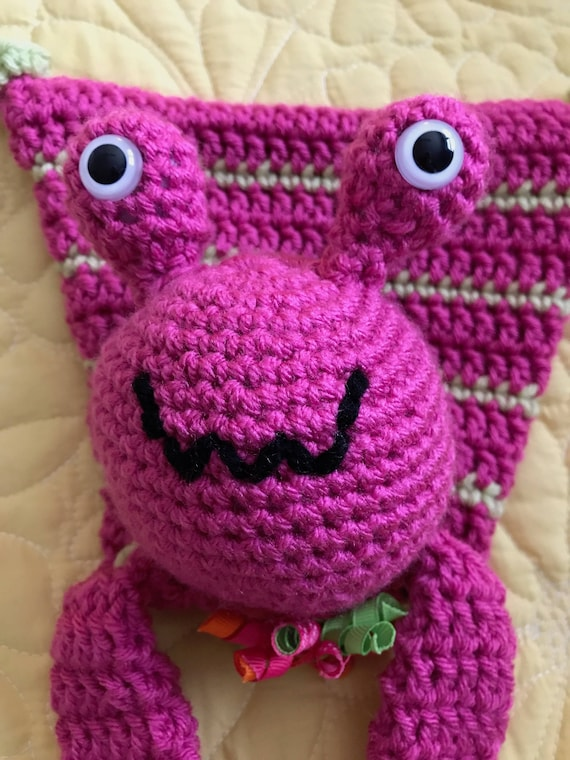 Hot Pink and Lime Alien Rag Doll Toy/Lovey