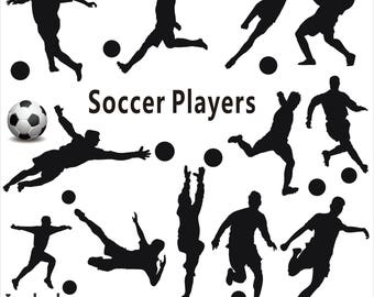 Soccer silhouette Clipart, Soccer Players Clipart, Soccer silhouette, Sports Clipart, Sport Silhouettes, Soccer SVG Files, Instant Download