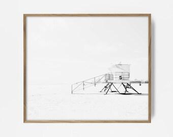 bw surf photo, surf print, black and white beach, beach photo, lifeguard station, bw lifeguard station, cali print, beach art, beach decor