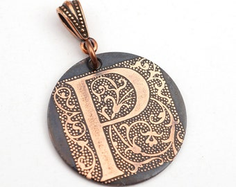 Initial P pendant, round flat antiqued metal monogram jewelry, optional necklace, 28mm