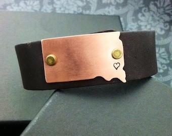 Hand Stamped jewelry - Brown Leather Cuff Bracelet - South Dakota bracelet - copper south dakota shape