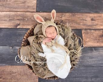 Bunny Bonnet And Stuffy - Photo Prop - Crochet PATTERN