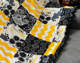 Contemporary Yellow, Black, and Gray Furry Backed Ruffle Quilt