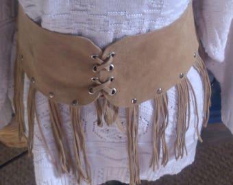 REDUCED  Suede Tassled Belt w Leather Back Tie