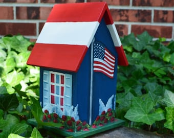 Patriotic Birdhouse, American Flag, Red, White and Blue, 4th of July