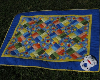 Quilt Owls and Ladybugs Royal Blue with Sunny Yellow Baby Boy or Baby Girl