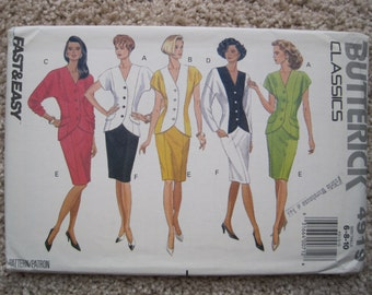UNCUT Misses' Top and Skirt - Size 6 to 10 - Butterick Sewing Pattern 4919 - Vintage 1990