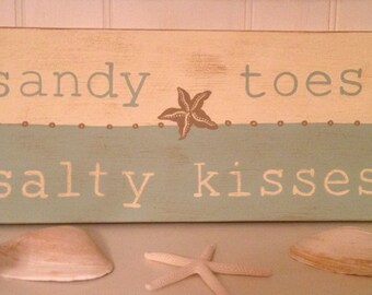 Sandy Toes Salty Kisses Wood Sign, Sandy Toes Salty Kisses Handpainted Sign, Beach Sign