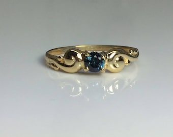 9kt Yellow Gold Dainty Ocean Blue Sapphire Solitare Ring