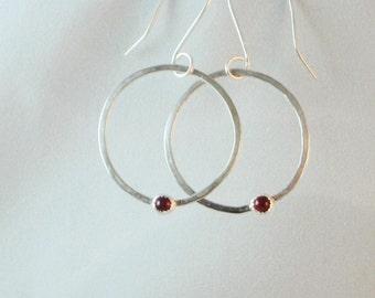 Sterling Silver Hoop Earrings with Choice of Gemstone