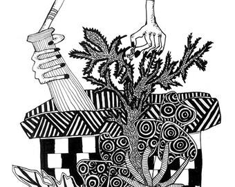 NATUROPATHY, Zentangle art, Wall decor, Archival print, Illustration.