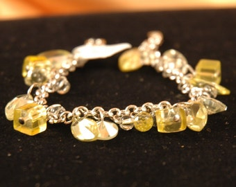CZ Charm Bracelet with Yellow Cubic Zirconia and Glass Beads on Silver Rollo Chain