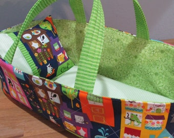 Doll Carrier, Animal Village with Green Lining, 14 Inches Long, Doll Basket