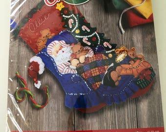 "NEW sealed Bucilla Sanya's Catnap Christmas stocking kit lots of cats 18"" # 86053"