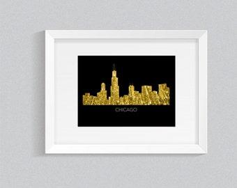Chicago Skyline. Printable File, Wall Art, Digital Print.