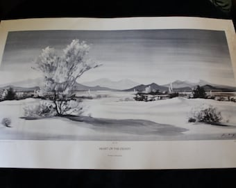 Mid Century Evelyn E. McGinnis Black and White Lithograph - No. 35 Heart of the Desert, Private Collection