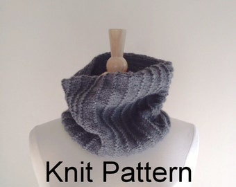 Knit Scarf Pattern, hand knitted cowl scarf pattern, circle scarf pattern, warm winter scarf pattern, oxford grey, Instant Download
