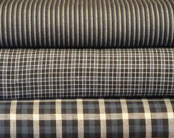 Blue Cotton Homespun Material Fat Quarter Bundle Of 3