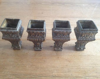4 Ornate Antique Brass Bed Feet