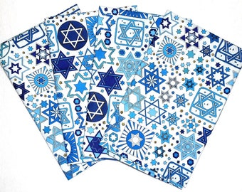 Jewish Napkins - Tossed Stars Fabric on White(4pk)