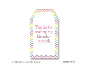 Chevron Rainbow Birthday PRINTABLE Gift Tag