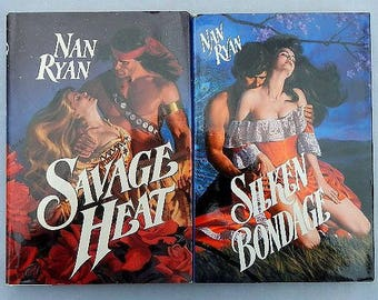Nan Ryan Vintage Hardcover Romance Novels Savage Heat and Silken Bondage