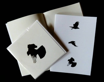Crow gift set, crow card and A5 sketchbook, drawing paper, crow stationery, crow gift, student gift, artist gift, art supplies, gothic gift