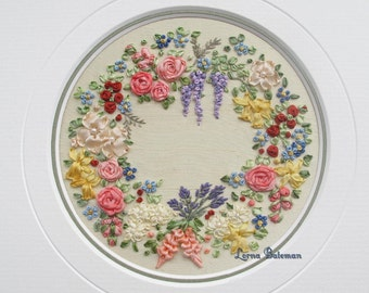 Silk Ribbon Embroidery - Miniature Wreath of Silk Ribbon Flowers - Full Kit