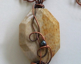 ON SALE Tan Fossilized Coral Faceted Gemstone Pendant Wire Wrapped with Freshwater Pearl, Handcrafted by Carol Wilson at Je t'adorn