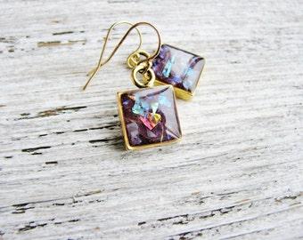 Glitter Earrings, Purple Earrings, Irridescent Earrings, Prism Earrings, Gold Earrings, Resin Jewelry