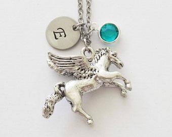 Pegasus Necklace, Horse, Greek Stallion, Gift For A Man, Birthday, Swarovski Birthstone, Silver Initial, Personalized Monogram Hand Stamped