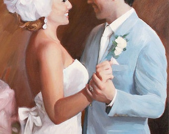 Portrait Commission Painting on Canvas - Fine Art Wedding Anniversary Gift 20x24